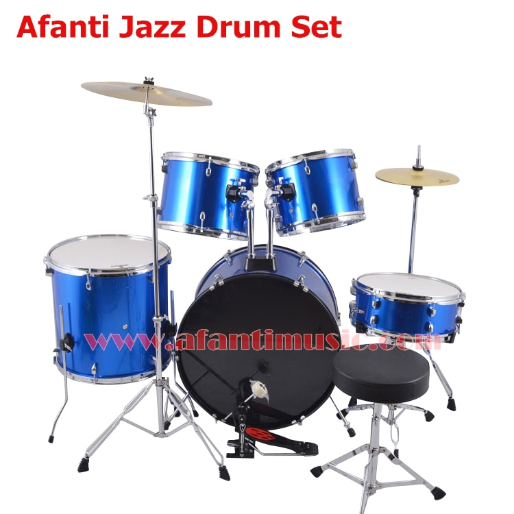 5 tambores 2 platillos de choque/color azul/juego de tambor Afanti Music Jazz/kit de batería (AJDS-427)
