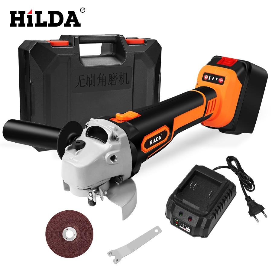 HILDA 21 فولت اللاسلكي زاوية طاحونة ليثيوم أيون ماكينة الطحن فرش طاحونة بزاوية كهربائية أدوات كهربائية