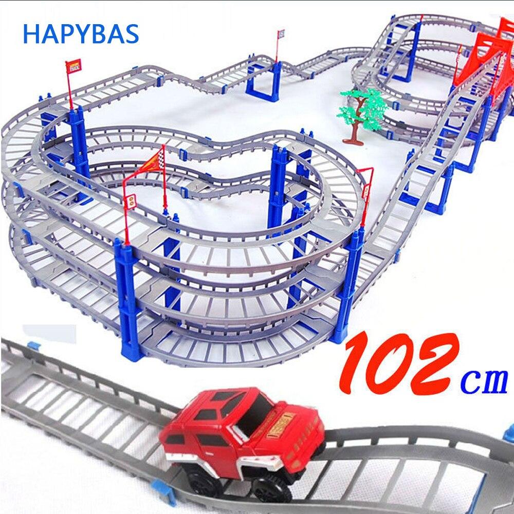 140 Uds super grande DIY Assemb Slots vehículo todoterreno 3D Electric Rail Car 3 capas Slot Kit espiral Track Roller Coaster regalo para niños