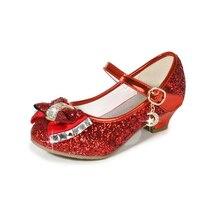Chaussures de mariage pour filles   Chaussures princesse à paillettes, chaussures en cuir, nœud papillon, couleur or argent, rouges, talons hauts