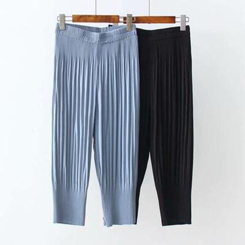 Pleated Plus Size 5XL Summer Calf-length Pants Thin Chiffon Pants Womens High Waist Slim Ladies Trousers Elastic Waist PantsA342