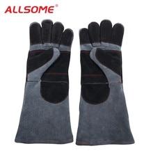 ALLSOME 35cm Leather Welding Gloves Heat Resistant For Tig MIG ARC Welders/Fireplace/Stove/BBQ/Gardening/Welding Mask HT2278