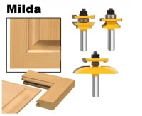 3 Pcs 1/2'' Shank Rail & Stile Ogee Blade Cutter Panel Cabinet Router Bits Set Milling cutter Power Tools Door knife Wood Cutter