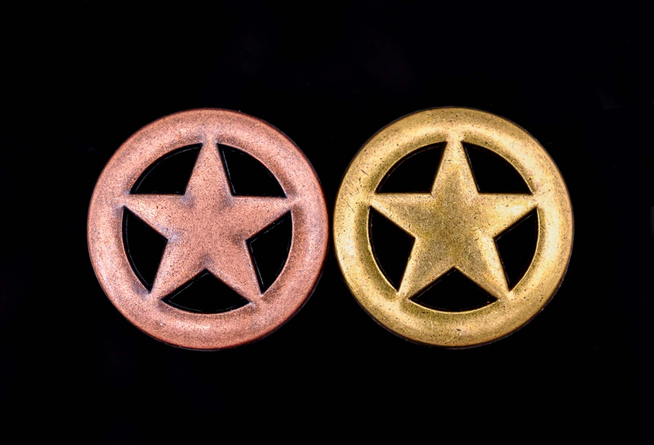 "10X 1"" Antique Brass/Copper Western Texas Cowboy Ranger Star Conchos For Saddles Headstall Bridle Leathercraft Belt Decor"