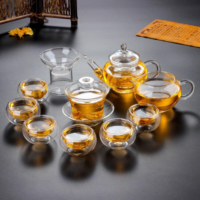 إبريق شاي زجاجي من البورسليكات ، 10 في 1 ، إبريق شاي أنيق عالي الجودة ، مجموعة هدايا الفلتر ، الأكثر شيوعًا في المنزل ، بالجملة