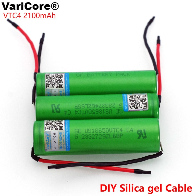 6 unids/lote VariCore Original 3,6 V 18650 VTC4 2100mAh alto drenaje 30A batería recargable para Sony US18650VTC4 + DIY Cable de gel de sílice