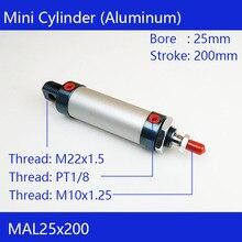 Envío Gratis barril 25mm diámetro 200mm carrera MAL25x200 aleación de aluminio mini cilindro neumático aire cilindro MAL25-200