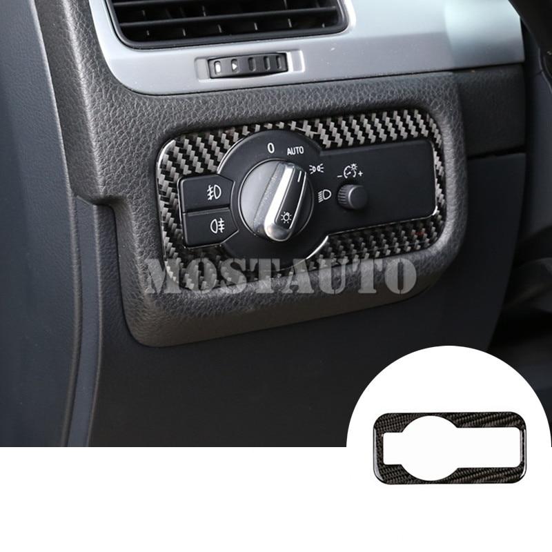 Para VW Touareg fibra de carbono interruptor de faro interno cubierta de ajuste de botón 2011-2018 1 Uds