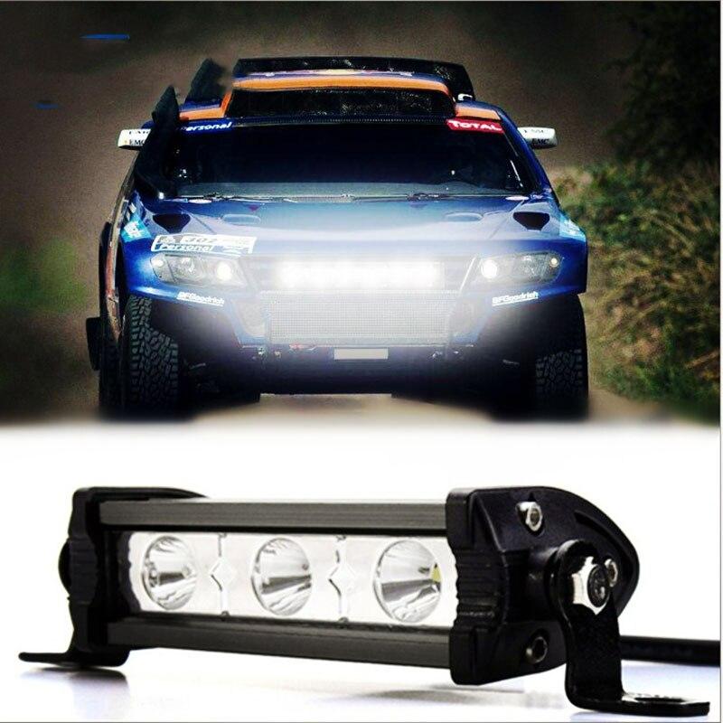 Barra de luz de trabajo LED de 2 uds 12V 24V de una sola fila de 3 luces 9W todoterreno faro modificado para motocicleta ATV SUV camioneta pickup