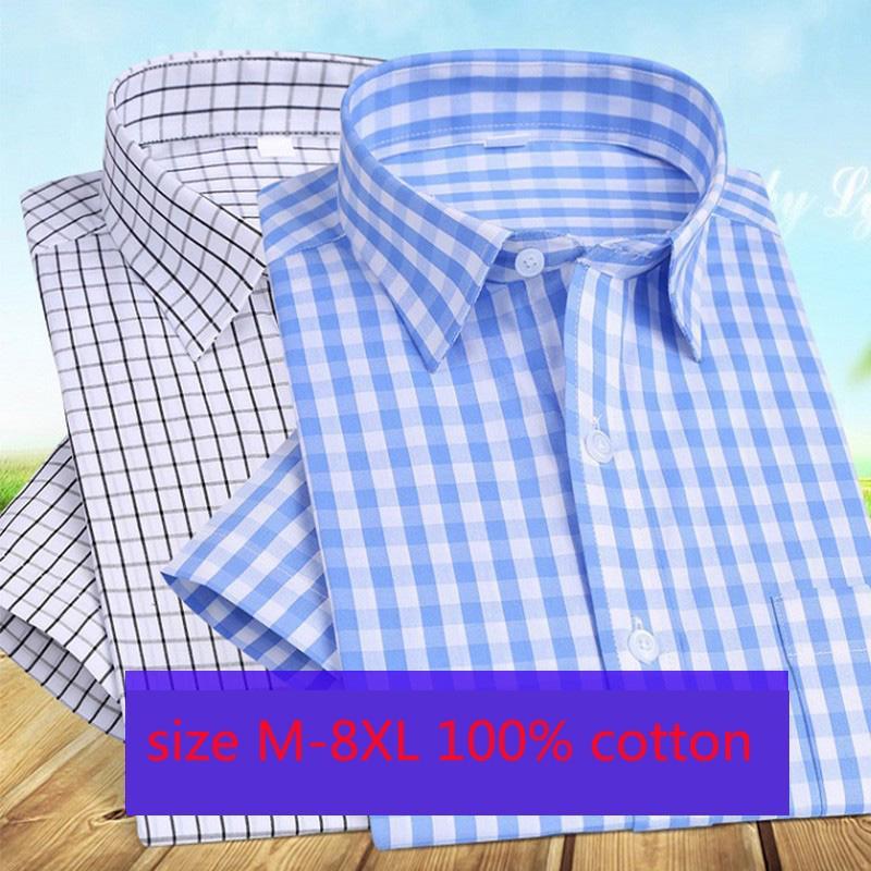 ¡Novedad de 2020! Holgadas camisas de manga corta para hombre, camisas de rayas de algodón puro de verano finas y grandes, camisas informales elegantes a cuadros, tallas grandes M-8XL