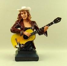 Amerikanischen West Land Pub Band Guitar Player Cowgirl Büste Figur Dekor Harz Blei Vocalist Skulptur Kunst und Handwerk Ornament