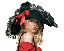 Dames PIRATE femme chapeau noir dentelle garniture déguisement déguisement femme marin