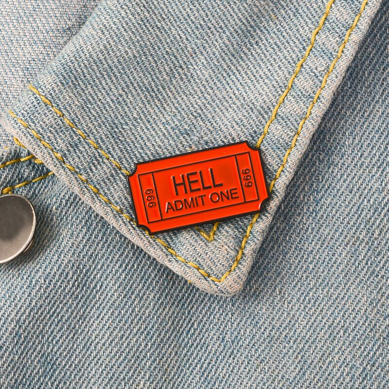 Hell admitir um bilhete 666 vermelho laranja esmalte broches emblemas lapela pinos broches para feminino jóias acessórios