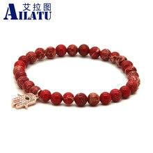 Bijoux pour femmes Ailatu 6mm perles de pierre impériale sédiments de mer rouge Micro incrustation Zircons Bracelet main Hamsa Fatima