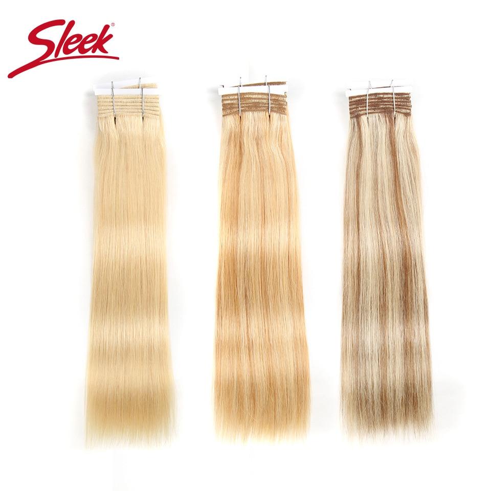 Eleganti capelli lisci a doppia trazione P6/613 biondi P27/613 fasci di capelli umani brasiliani 1 pezzo solo estensioni di Remy spedizione gratuita