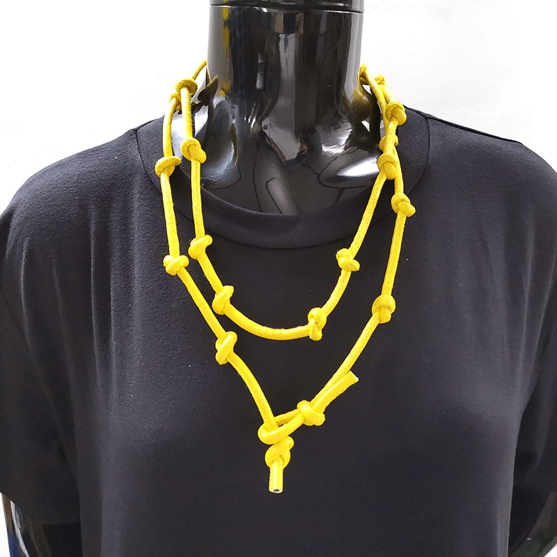 Yd & ydbz novo amarelo colar de couro para as mulheres 2019 moda pingente colar longo corrente artesanal jóias punk gótico gargantilha corrente
