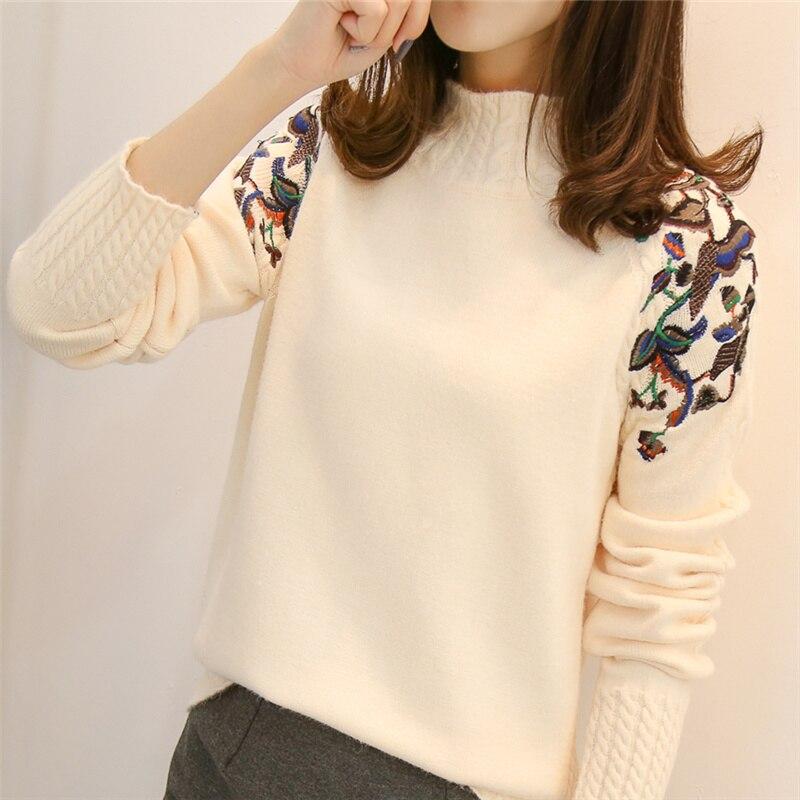 2019 suéter de cuello alto Medio femenino manga cabeza bordado twist suelto todo-fósforo manga larga bottoming suéteres