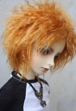 BJD doll plush wig orange short curly wig for 1/3 1/3 BJD doll DSD MDD uncle fur wig doll accessories