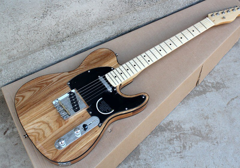 Fábrica por atacado de madeira de cinza corda-através-corpo guitarra elétrica com preto pickguard, cromo hardwares, oferta personalizada