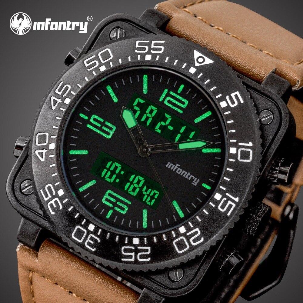 Infantería de relojes superior de la marca de lujo de cronómetro plaza militar táctico cuero reloj para hombres analógico Digital militar reloj de los hombres