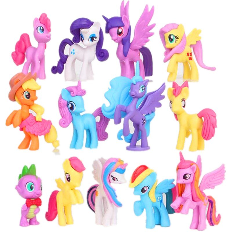 13 unids/set 5-8cm arco iris de unicornio caballo my cute pvc little ponis caballo acción juguete figuras muñecas para niña cumpleaños regalo de Navidad