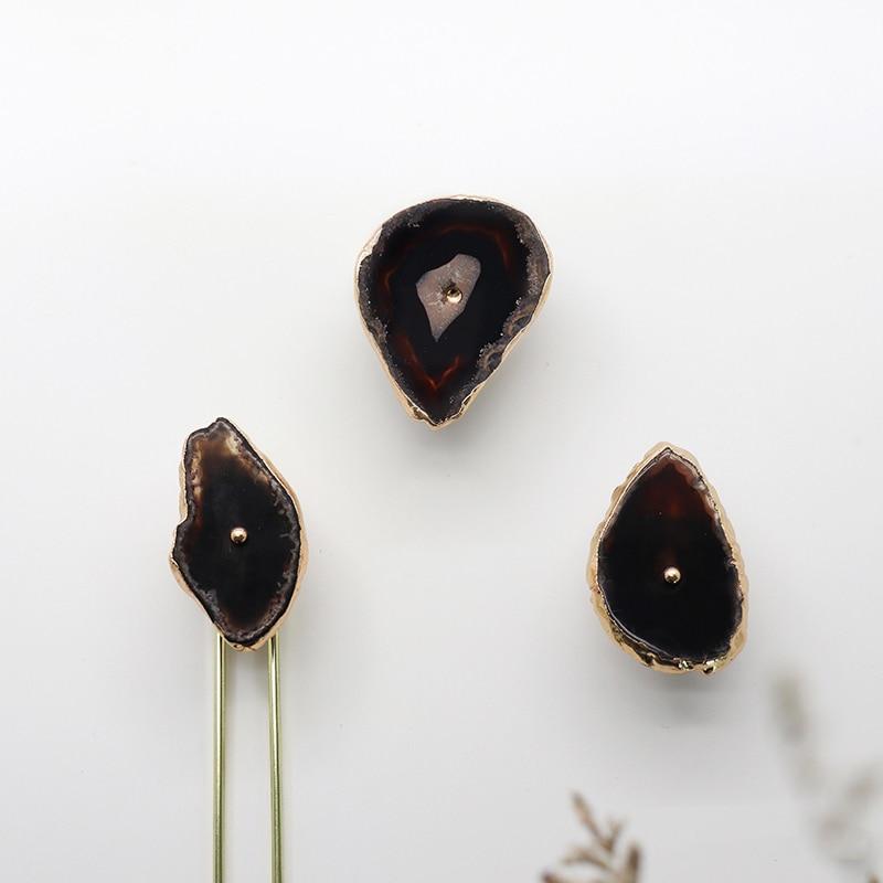 Estilo Ins ágata natural + perilla de latón perilla de corte de piedra áspera para cajón de dormitorio tirador manija/4 colores