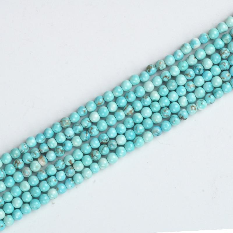 Contas de pedras naturais turquesa, pedra redonda solta gem 3mm turquesa muçã oração pulseira jóias fazendo acessórios artesanais