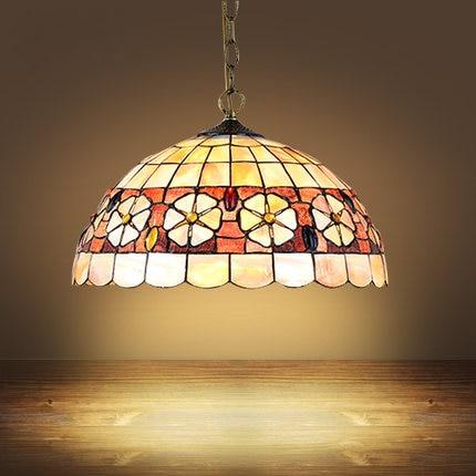 Mediterranean Style Tiffany Shell Made Ceiling Lamp 20/25/30/35/40cm E27 AC 110-240V LED Ceiling Lights Luminarias Light Fixture