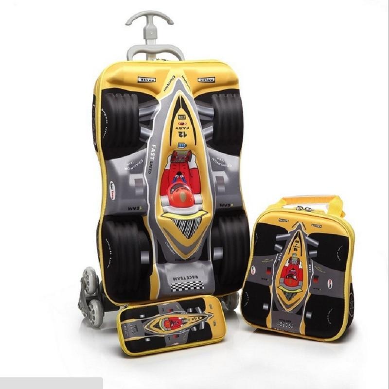 3 unids/set niños encantadores COCHES DE VIAJE equipaje 3D stereo Pull rod box caja de lápiz infantil de dibujos animados niños COOL maleta boy Boarding box