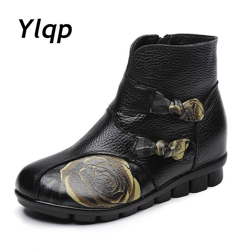 ¡Novedad del 2019! Botines de mujer, zapatos Vintage con cremallera de cuero genuino, zapatos planos, botas de invierno para mantener el calor, botas Martin de tacón plano para mujer
