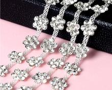 1 Yard Sparkle Flower Crystals Rhinestones Beads Ribbon Chain Trim For Sewing Craft DIY