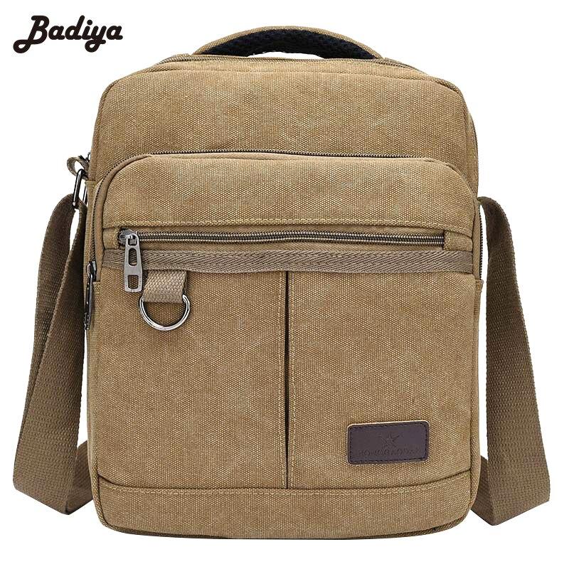 Fashion Solid Canvas Casual Men's Handbags Zipper Design Men's Flap Single Shoulder Bags Sac Multifunction Travel Bags