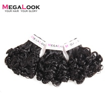 Megalook Bundels met Sluiting Rose Curl 3 Bundel met 4*4 Vetersluiting Menselijk Remy Hair Extensions Funmi Krullend weave 4 stks/partij
