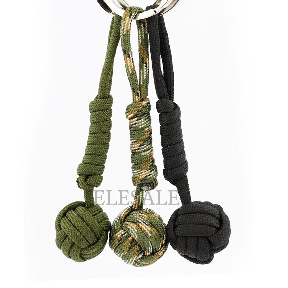 3/cor de Segurança Ao Ar Livre EDC Chaveiro B039 Preto Monkey Fist Aço do Rolamento De Esferas Self Defense Colhedor Survival Dropshipping