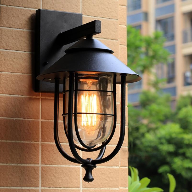 خمر مصابيح الحائط الرجعية الحديد الأسود شمعدانات جدارية غير نافذ للمطر داخلي مصابيح جدران خارجية شرفة بار حديقة غرفة المعيشة الممر مصابيح