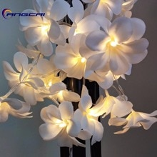 Blanc Violet tissu frangipanier floral mariage led batterie guirlande lumineuse, Plumeria, guirlande, fête, noël, chambre décor 1/2/3/4M