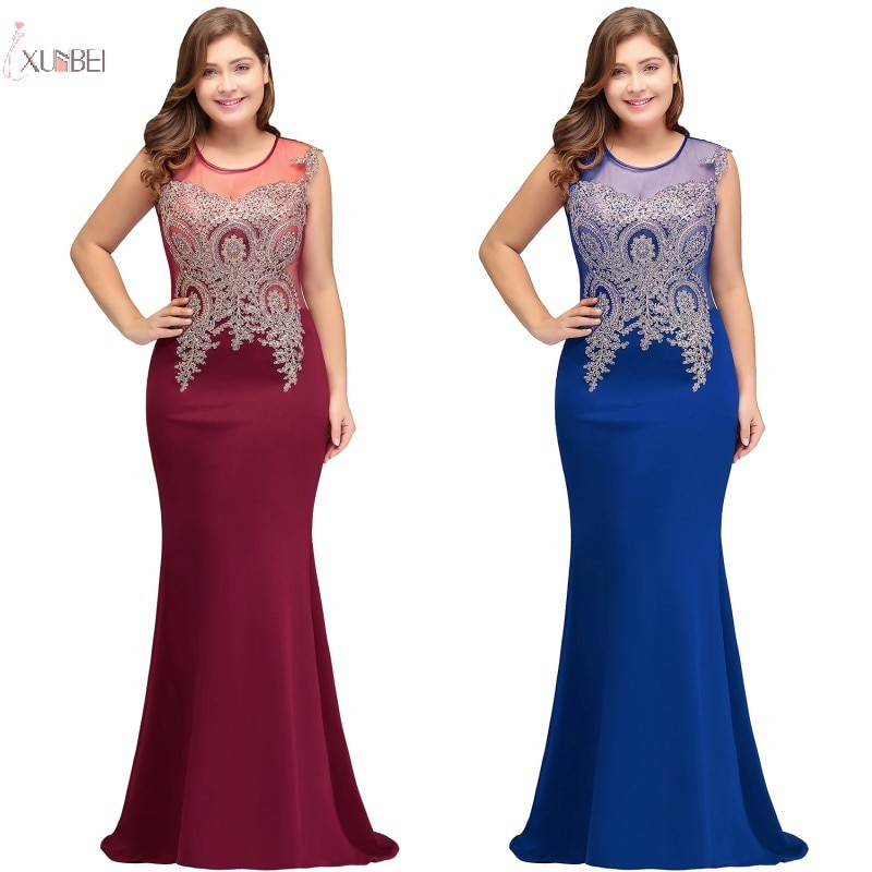 Elegante borgonha azul real azul marinho sereia longo vestidos de dama de honra plus size rendas applique casamento vestido de festa