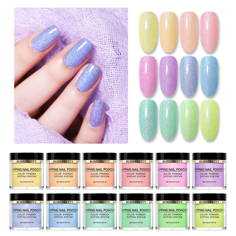BORN PRETTY-Polvo de uñas sin lámpara, adornos Nail Art para uñas, polvo de inmersión Natural, purpurina seca, 10ml