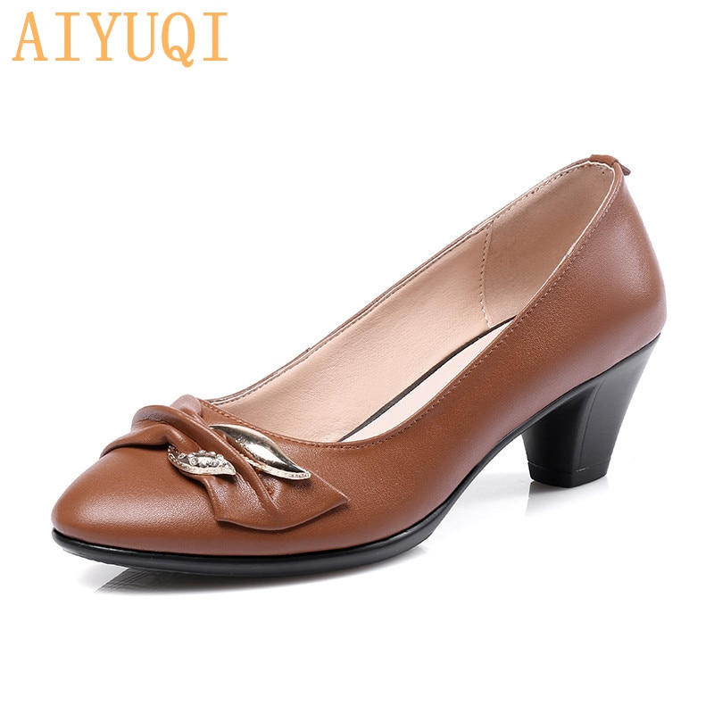 Women Shoes High Heels Pumps Fashion Party Round Toe leather spring fall Classic black for office lady tenis feminino