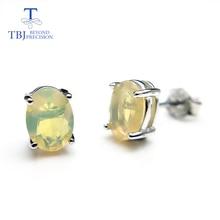 TBJ,100% naturel éthiopien arc-en-ciel opale romantique spécial simple boucle doreille en argent sterling 925 bijoux fins pour fille et femmes