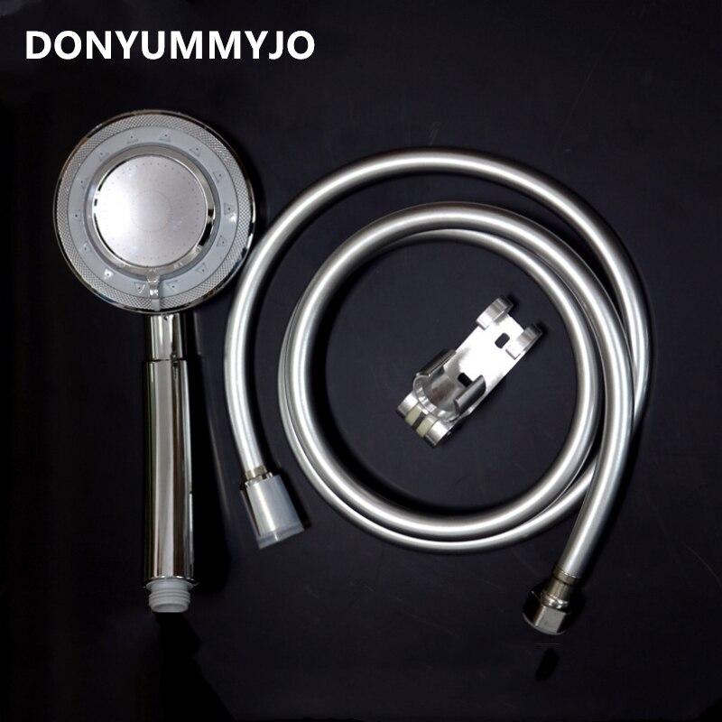 DONYUMMYJO 1pc Multi-function Water-saving Spray Hand-held Supercharged Shower Head + Bracket + 1.5m Hose