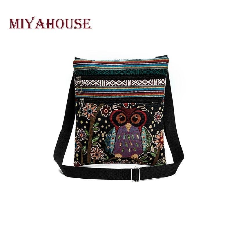 Miyahouse Casual Small Double Zipper Messenger Bag Women Cartoon Owl Printed Flap Bag Shoulder Bag L