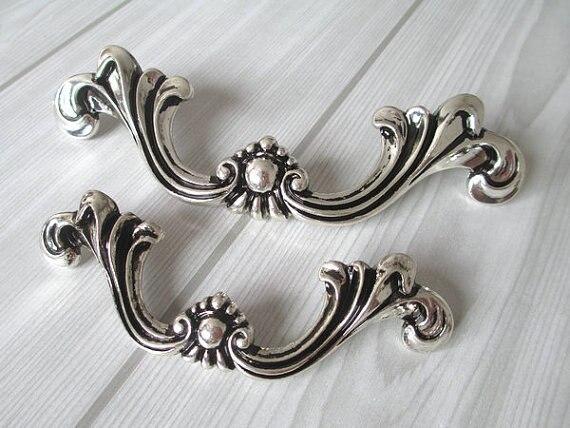 Tiradores de cajón de vestidor Shabby Chic tiradores de puerta manijas de plata negro francés país Vintage perillas gabinetes mobiliario tirador manija
