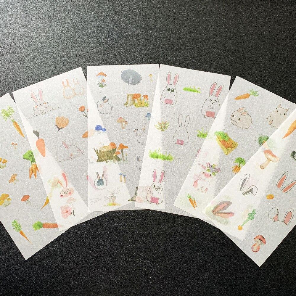 6 листов/Упаковка милый кролик и морковь декоративный стикер s DIY ремесло скрапбукинга стикер альбом записная книжка декоративная наклейка