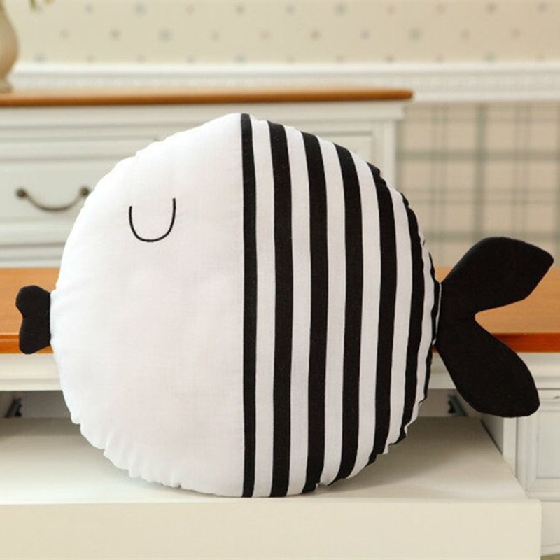Kawaii Fish Kids Toys For Birthday Gifts Plush Animal Shape Toys For Children Kawaii Fish Pillow For Girls Black White Soft Toys