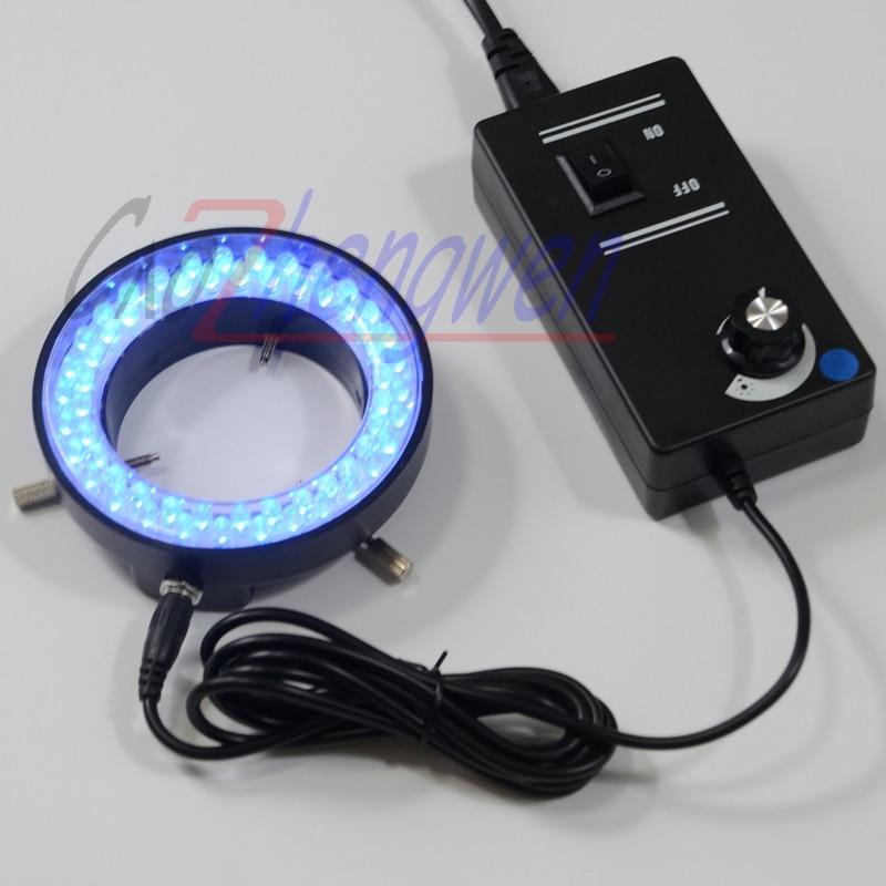 FYSCOPE כחול צבע אורות 60PCS LED בהירות מתכוונן מואר טבעת מנורת עם מתאם 220V או 110V עבור סטריאו מיקרוסקופ