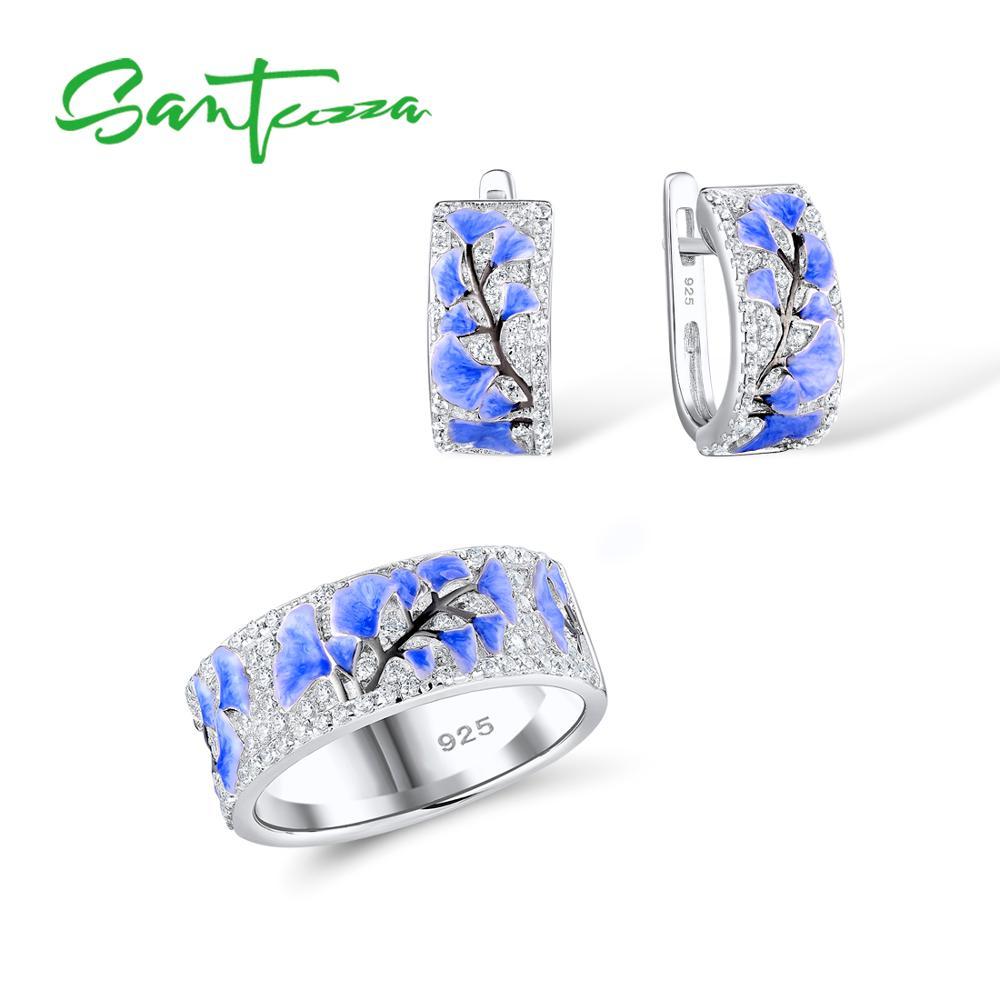 SANTUZZA Silber Schmuck Set Für Frau Blau Blume Ring Ohrringe 925 Sterling Silber Partei Mode Schmuck Set HANDMADE Emaille