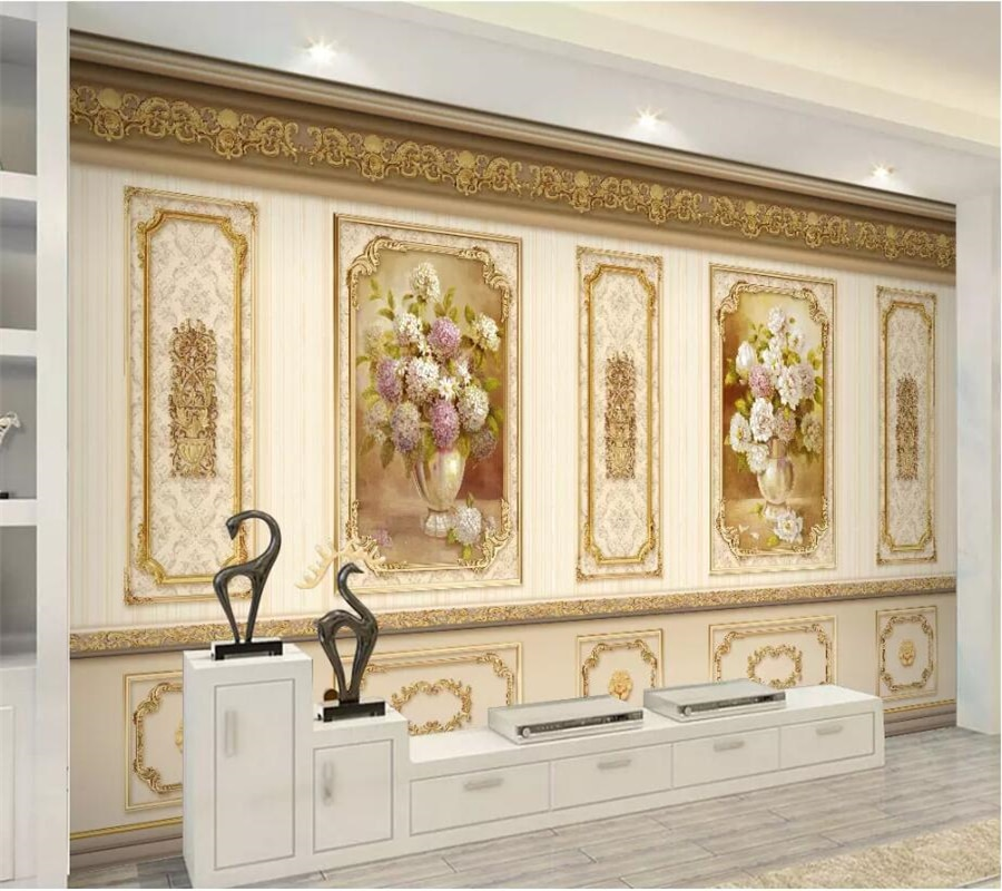 beibehang Custom wallpaper 3d mural European luxury garden flower gold home decoration siding papel de parede