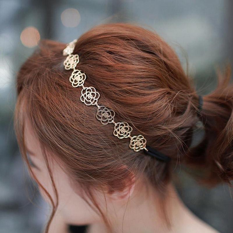 Precioso metálico para mujer hueco elástico de flores rosa banda para el pelo banda para la cabeza diadema accesorios para la cabeza