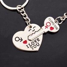 Envío Gratis 50 par/lote = 100 piezas papá te amo en forma de corazón llavero juegos llavero favores boda regalos para invitados